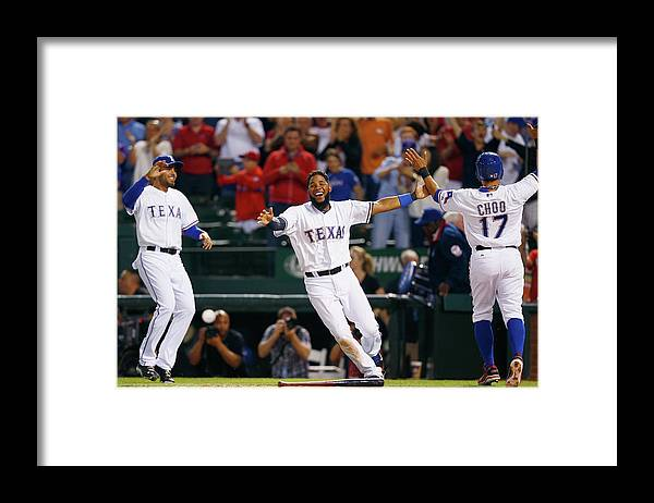 Ninth Inning Framed Print featuring the photograph Elvis Andrus and Shin-soo Choo by Tom Pennington