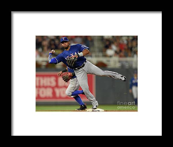 People Framed Print featuring the photograph Elvis Andrus and Taylor Motter by Hannah Foslien