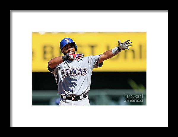 People Framed Print featuring the photograph Elvis Andrus by Brian Davidson