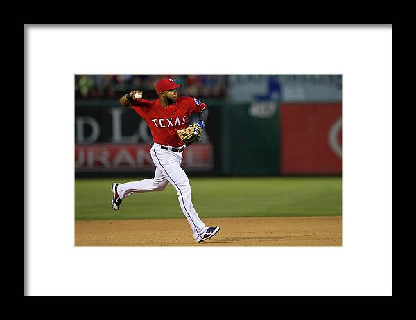 American League Baseball Framed Print featuring the photograph Elvis Andrus by Cooper Neill