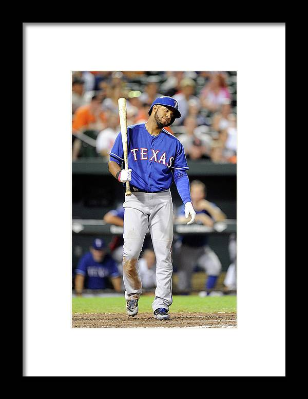 American League Baseball Framed Print featuring the photograph Elvis Andrus by Greg Fiume