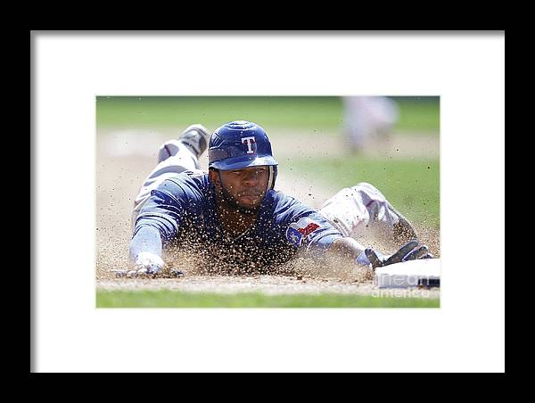 American League Baseball Framed Print featuring the photograph Elvis Andrus by Gregory Shamus