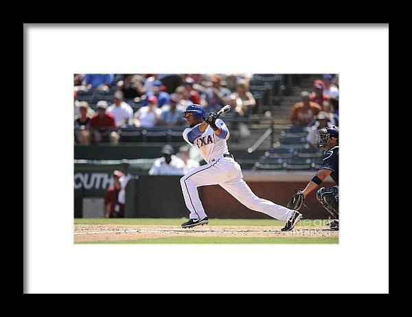 American League Baseball Framed Print featuring the photograph Elvis Andrus by John Williamson