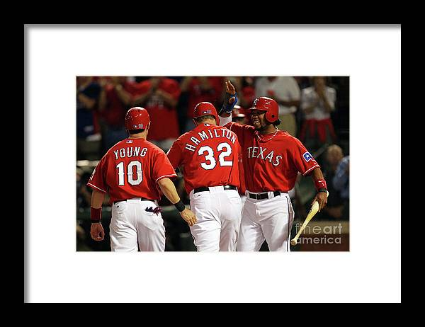 Playoffs Framed Print featuring the photograph Elvis Andrus, Michael Young, and Josh Hamilton by Ronald Martinez