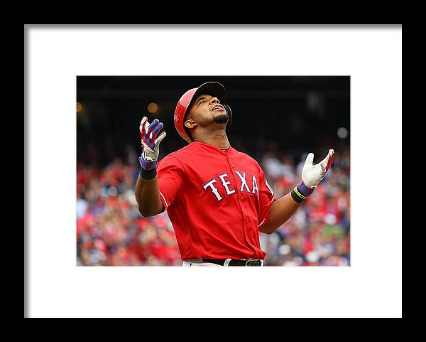 Game Two Framed Print featuring the photograph Elvis Andrus by Scott Halleran