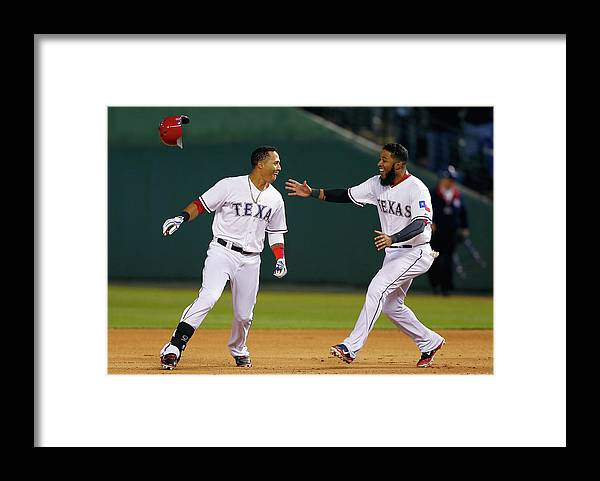 Ninth Inning Framed Print featuring the photograph Elvis Andrus by Tom Pennington