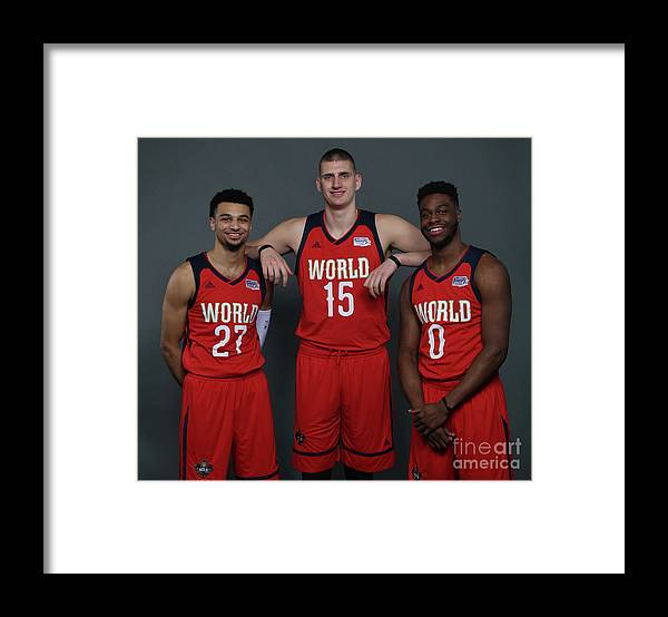 Smoothie King Center Framed Print featuring the photograph Emmanuel Mudiay and Jamal Murray by Gary Dineen