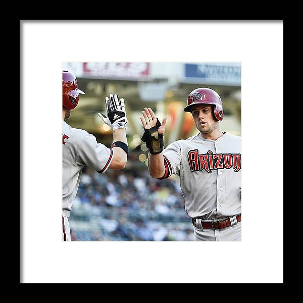 Second Inning Framed Print featuring the photograph Ender Inciarte and Chris Owings by Denis Poroy