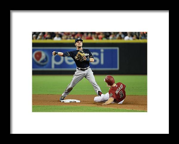 Double Play Framed Print featuring the photograph Ender Inciarte by Norm Hall