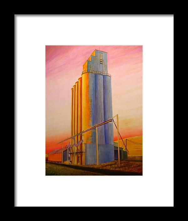Grain Framed Print featuring the painting Endicotte Silos by Leonard Heid