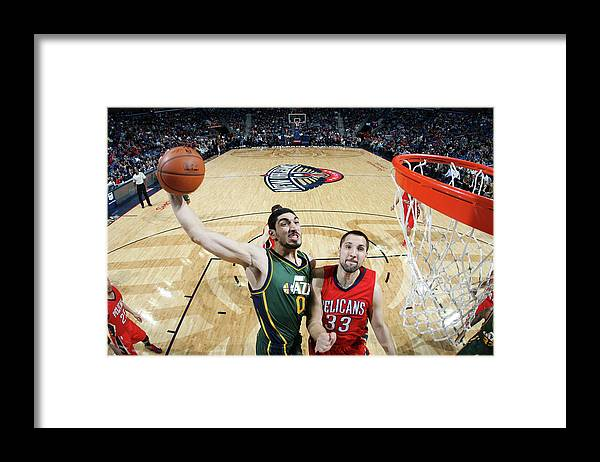 Smoothie King Center Framed Print featuring the photograph Enes Kanter by Layne Murdoch
