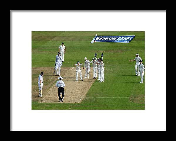 England Framed Print featuring the photograph England v Australia: 1st Investec Ashes Test - Day Three by Laurence Griffiths