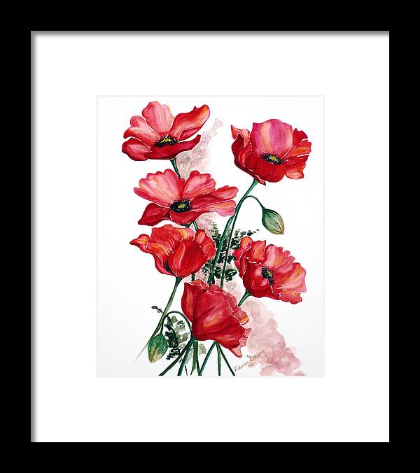Original Watercolor Of English Field Poppies Painted On Arches Watercolor Paper Framed Print featuring the painting English Field Poppies. by Karin Dawn Kelshall- Best