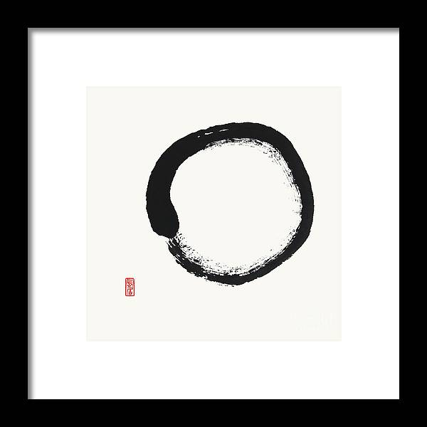 Framed Print featuring the painting Enso Simplicity by Nadja Van Ghelue