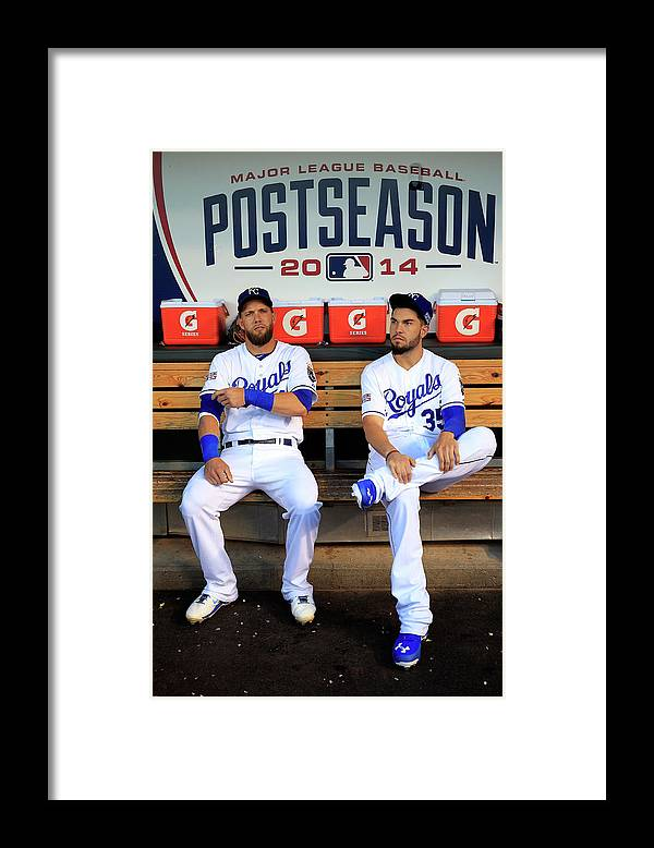 American League Baseball Framed Print featuring the photograph Eric Hosmer and Alex Gordon by Jamie Squire