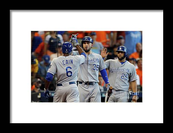 Three Quarter Length Framed Print featuring the photograph Eric Hosmer and Lorenzo Cain by Bob Levey