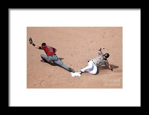 People Framed Print featuring the photograph Eric Hosmer and Nick Ahmed by Andy Hayt