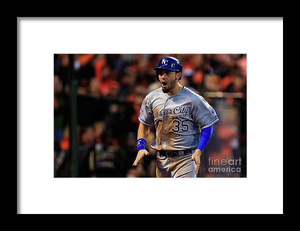 San Francisco Framed Print featuring the photograph Eric Hosmer and Omar Infante by Jamie Squire
