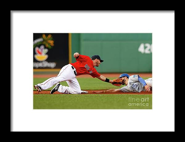 American League Baseball Framed Print featuring the photograph Eric Hosmer and Stephen Drew by Jared Wickerham
