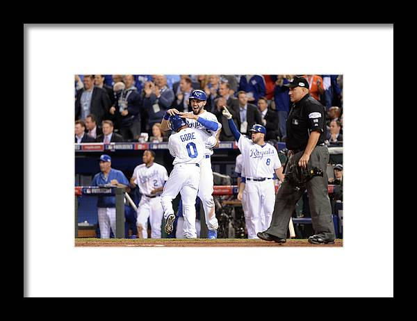 Playoffs Framed Print featuring the photograph Eric Hosmer and Terrance Gore by Ron Vesely