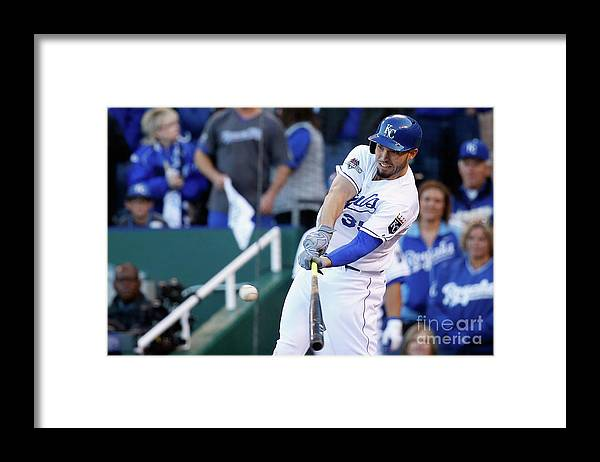 Game Two Framed Print featuring the photograph Eric Hosmer by Rob Carr