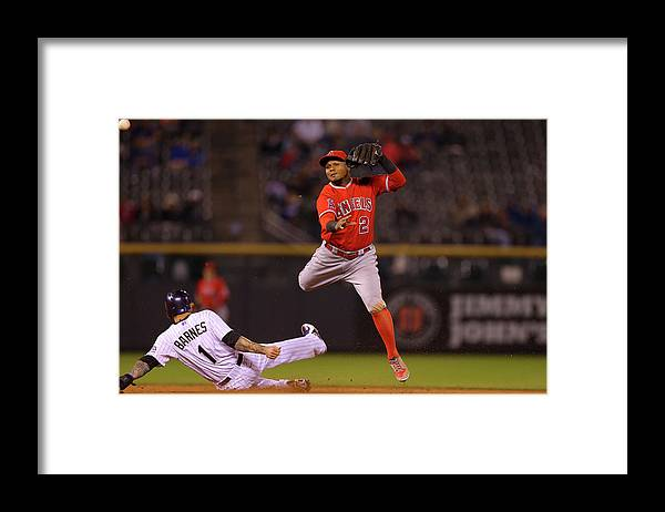 Double Play Framed Print featuring the photograph Erick Aybar and Brandon Barnes by Justin Edmonds