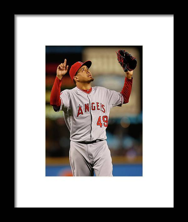 American League Baseball Framed Print featuring the photograph Ernesto Frieri by Otto Greule Jr
