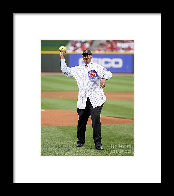 Great American Ball Park Framed Print featuring the photograph Ernie Banks by Andy Lyons
