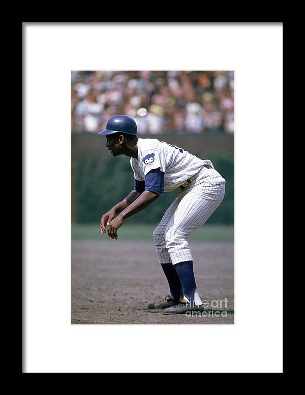People Framed Print featuring the photograph Ernie Banks by Mlb Photos
