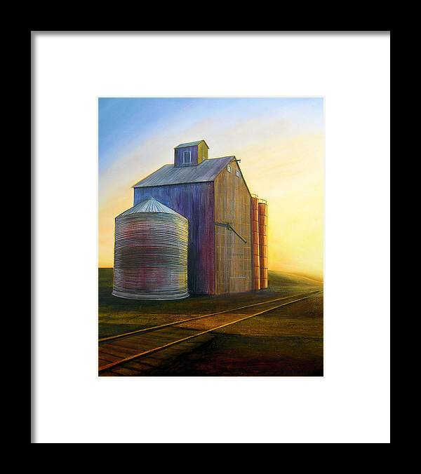 Silos Framed Print featuring the painting Estes Road Twilight by Leonard Heid