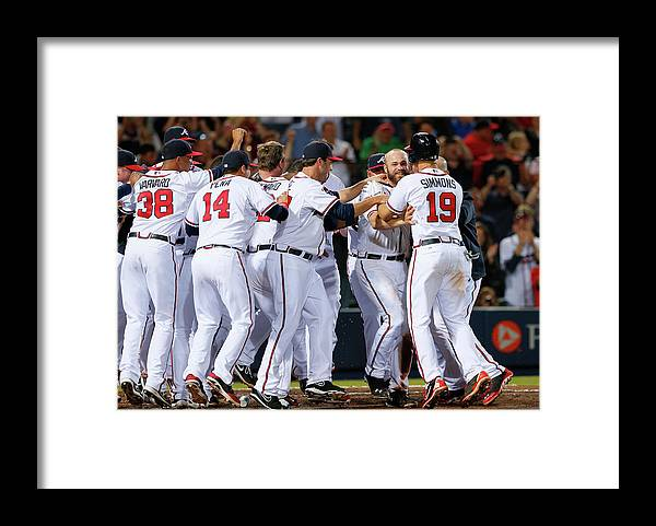 Atlanta Framed Print featuring the photograph Evan Gattis and Dan Uggla by Kevin C. Cox