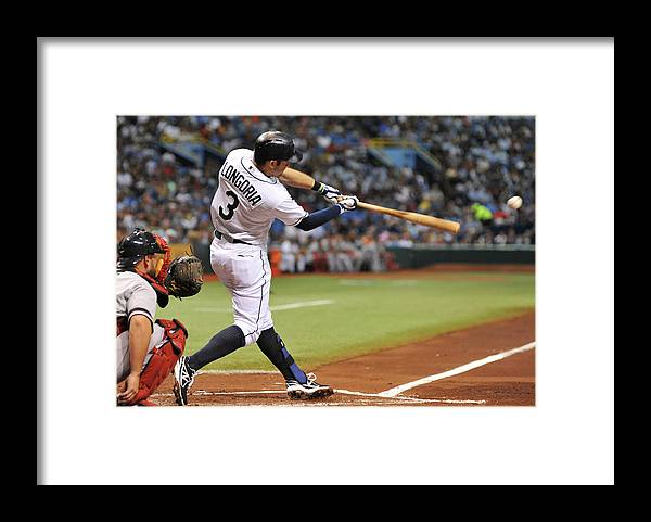 Second Inning Framed Print featuring the photograph Evan Longoria by Al Messerschmidt