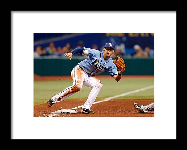 American League Baseball Framed Print featuring the photograph Evan Longoria and Coco Crisp by J. Meric