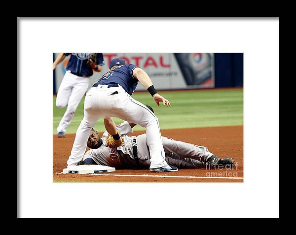 People Framed Print featuring the photograph Evan Longoria And Jackie Bradley by Brian Blanco