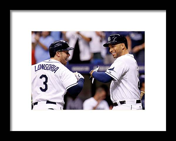 American League Baseball Framed Print featuring the photograph Evan Longoria and James Loney by Brian Blanco