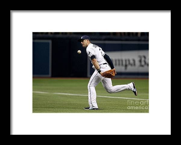 People Framed Print featuring the photograph Evan Longoria and Lorenzo Cain by Brian Blanco