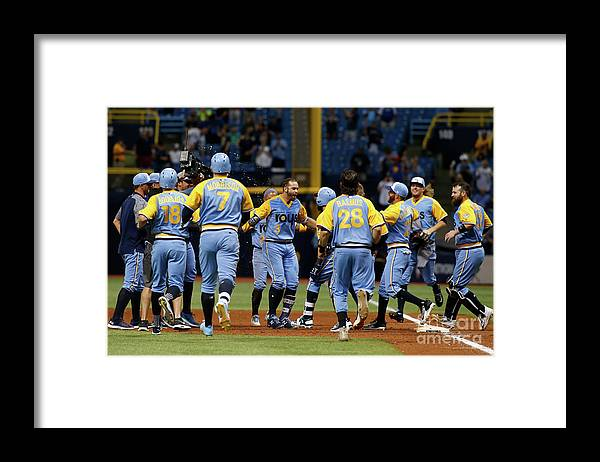 People Framed Print featuring the photograph Evan Longoria and Peter Bourjos by Brian Blanco