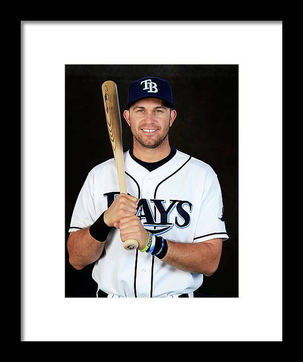 Media Day Framed Print featuring the photograph Evan Longoria by Rob Carr