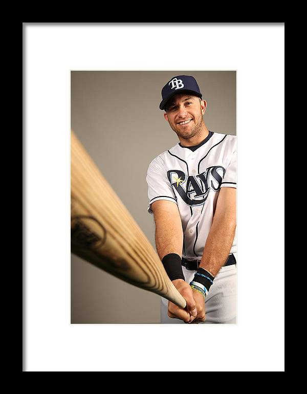 Media Day Framed Print featuring the photograph Evan Longoria by Robbie Rogers