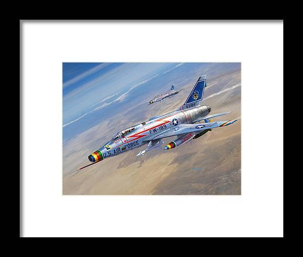 F-100 Framed Print featuring the digital art F-100D Sharpening the Sabre by Stu Shepherd