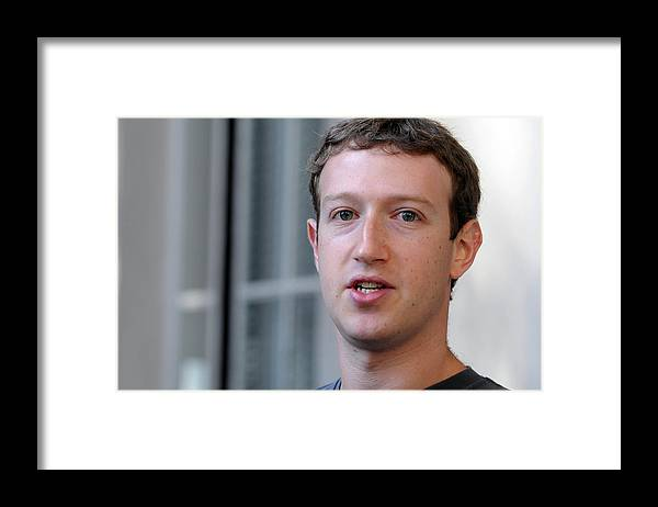 Employment And Labor Framed Print featuring the photograph Facebook CEO Mark Zuckerberg Visits Computer Science Students At Harvard And MIT by Darren McCollester