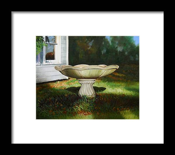 Concrete Fountain Framed Print featuring the painting Fall Afternoon by Gary Hernandez