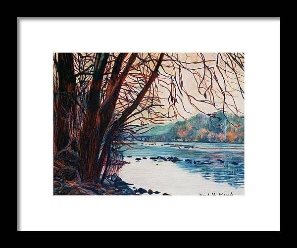 New River Framed Print featuring the pastel Fall on the New River by Kendall Kessler