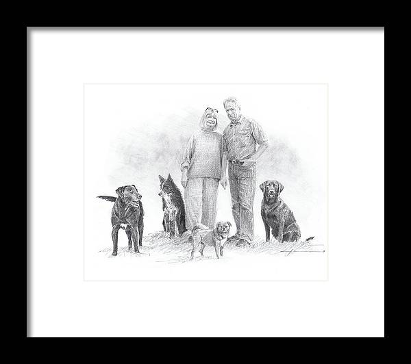 Www.miketheuer.comfamily Parents And Dogs Pencil Portrait Framed Print featuring the drawing Family Parents And Dogs by Mike Theuer