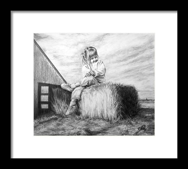 Farm Framed Print featuring the drawing Farm Girl by Arthur Fix