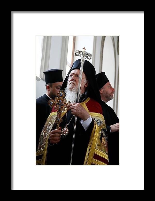 Vertical Framed Print featuring the photograph Fener-Greek Patriarch Bartholomew presides mass in Izmir by Anadolu Agency
