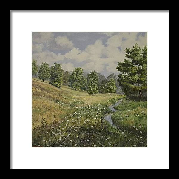 Cloudy Skies Framed Print featuring the painting Field And Stream by Wanda Dansereau