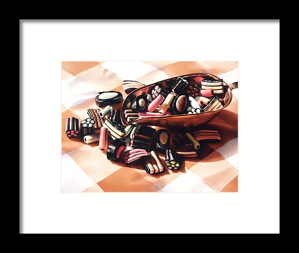 Candy Framed Print featuring the pastel Finnish Allsorts by Dianna Ponting