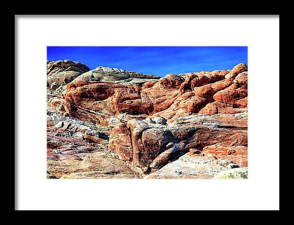 Fire Rocks Framed Print featuring the photograph Fire Rocks at the Valley of Fire in Nevada by John Rizzuto