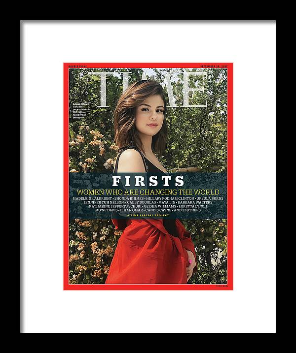 Selena Gomez Framed Print featuring the photograph Firsts - Women Who Are Changing the World, Selena Gomez by Photograph by Luisa Dorr for TIME